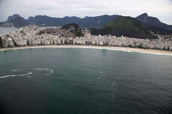 Foto van Copacabana beach seen from the skyRio de Janeiro - Brazilië