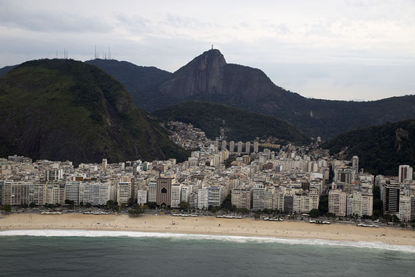 Picture of Cristo Redentor looming high above Copacabana beach