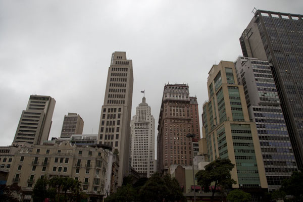 Looking east from the Parque Anhangabaú with the skyline of part of historic São Paulo | São Paulo Historic Centre | Brazil