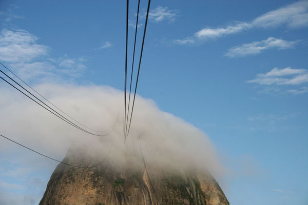 Picture of The cable car lines disappearing in a small cloud