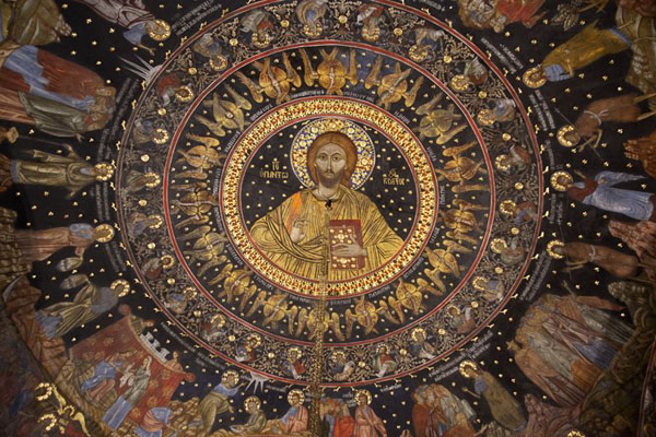 Foto van Crist Pantokrator in the main dome of Sveta Bogoroditsa churchBachkovo - Bulgarije