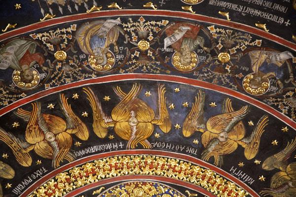 Detail of colourful fresco in the Sveta Bogoroditsa church | Monastère de Batchkovo | Bulgarie