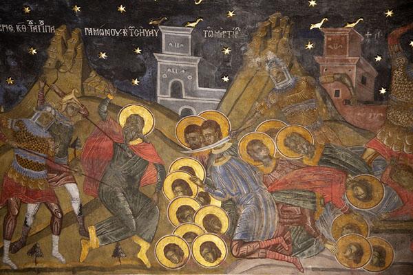 Bloody scene depicted in a fresco inside Sveta Bogoroditsa church | Monastère de Batchkovo | Bulgarie