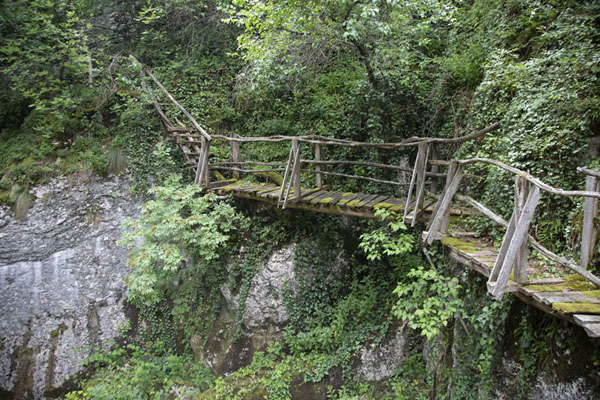 Photo de One of the wooden bridges in Emen canyon - Bulgarie - Europe