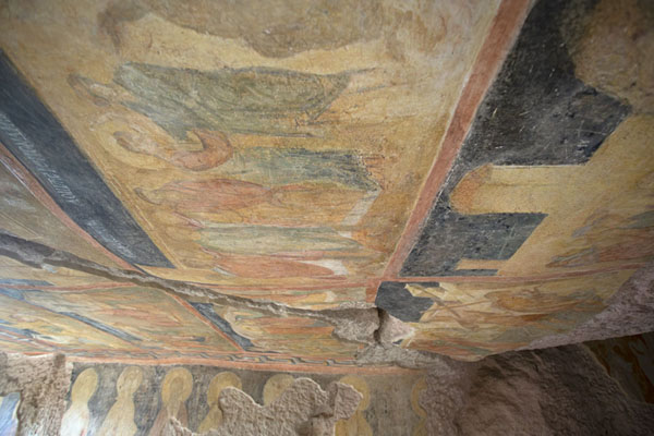 Frescoes cover the ceiling and walls of the Holy Virgin rock church of Ivanovo | Ivanovo rock hewn church | Bulgaria