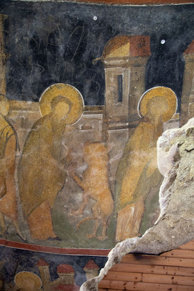 Biblical scene depicted in a fresco in the Holy Virgin rock church | Ivanovo rock hewn church | Bulgaria