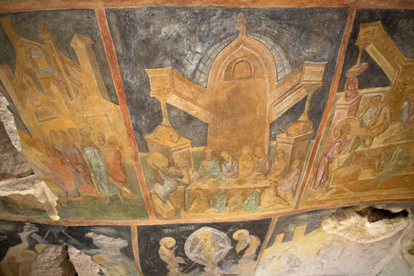 Looking up the ceiling of the Holy Mother of God rock church, covered in frescoes | Ivanovo rock hewn church | Bulgaria