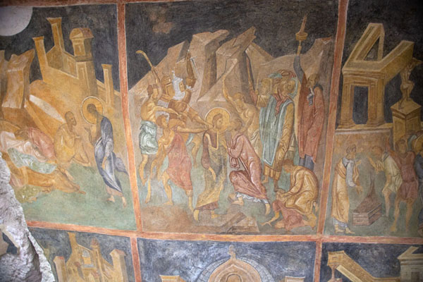 Foto van Several biblical scenes on the ceiling of the Holy Virgin rock churchIvanovo - Bulgarije