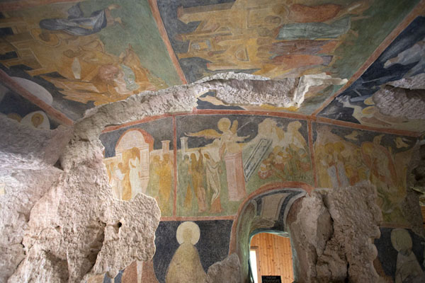 The ceiling of the Holy Virgin rock church is covered with well-executed, well-preserved frescoes | Ivanovo rock hewn church | Bulgaria