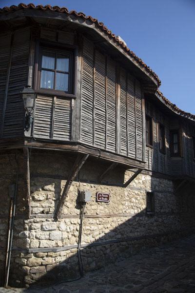 Overhanging wooden floor in one of the small streets of Nesebar | Nesebar | Bulgaria