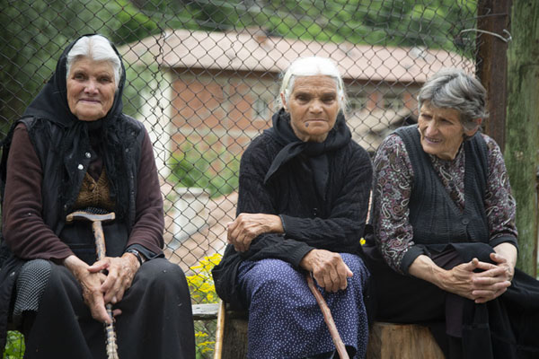 Picture of Three old ladies posing for a picture in PirinPirin - Bulgaria