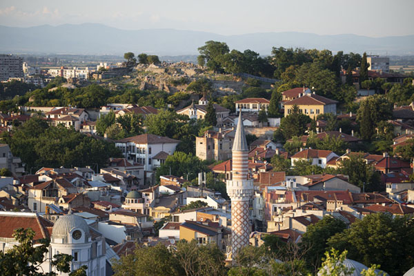Foto van View over the old town of Plovdiv, with Nebet Tepe at the far sidePlovdiv - Bulgarije