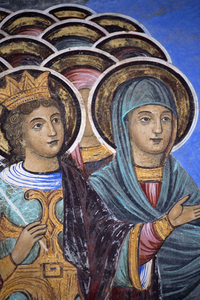 Foto van Detail of a fresco with female figuresRila - Bulgarije