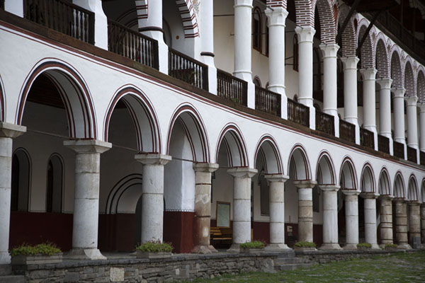 Colonnade in the residential area of Rila Monastery | Rila Monastery | Bulgaria