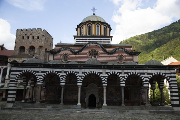 Frontal view of the Nativity of the Virgin Mother church | Rila Monastery | Bulgaria