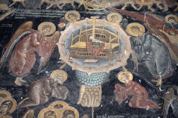 Throne of Preparation, detail of fresco depicting the Last Judgment | Rozhen Monastery | Bulgaria