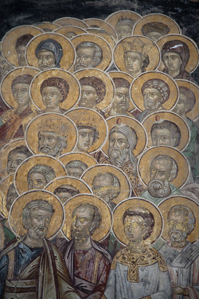 Detail of fresco on the exterior of the church of Rozhen Monastery with saints | Rozhen Monastery | Bulgaria