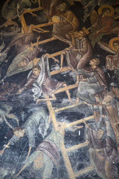 Detailed view of the fresco depicting a ladder to heaven | Rozhen Monastery | Bulgaria