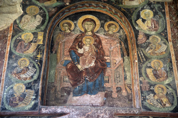 Foto van Fresco above the entrance of the church of Rozhen MonasteryRozhen - Bulgarije