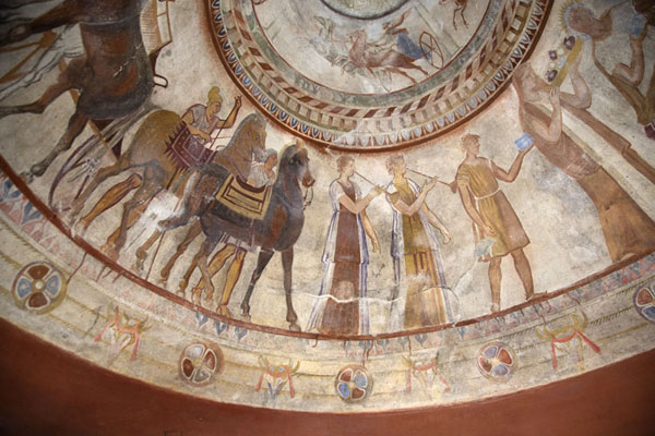 Close-up of the fresco in the dome of the Thracian tomb of Kazanlak | Thracian tombs | Bulgaria