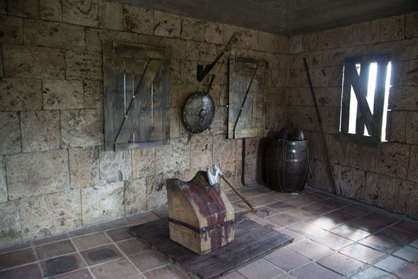 Chopping block in a room in the Little Gate | Tsarevets Fortress | Bulgaria