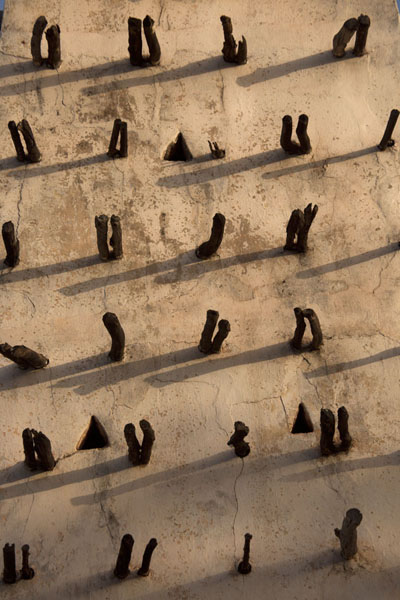 Foto di The setting sun casting shadows of the wooden beams on one of the minarets - Burkina Faso - Africa