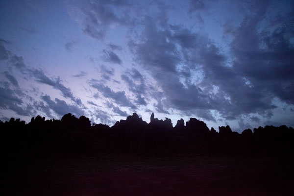 Silhouettes of the Sindou peaks at dawn | Sindou Peaks | Burkina Faso