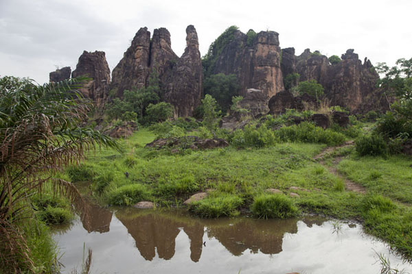 Picture of Sindou Peaks (Burkina Faso): Reflection of peaks in a pond at Sindou