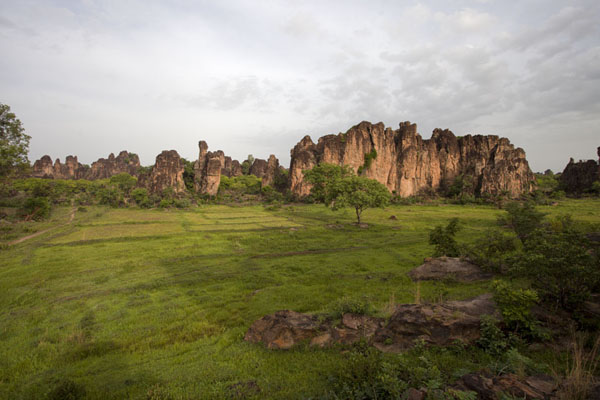 Early morning view of a field with rock formations | Sindou Peaks | Burkina Faso