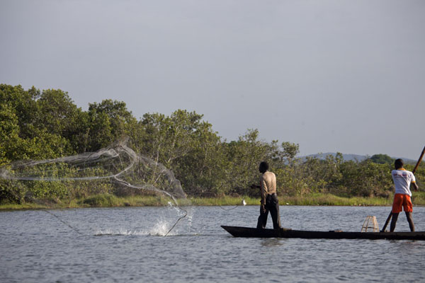 Foto van Fishermen throwing a net in Tengrela LakeTengrela - Burkina Faso