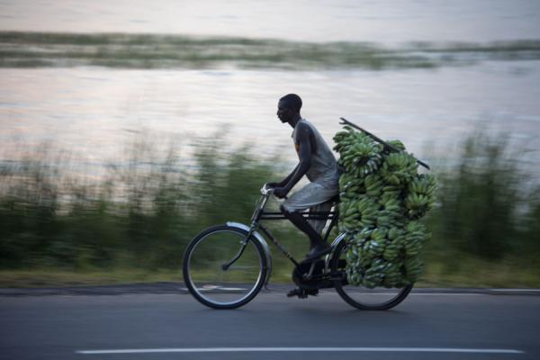Cycling with a load of bananas on the bike | Burundi cyclists | Burundi
