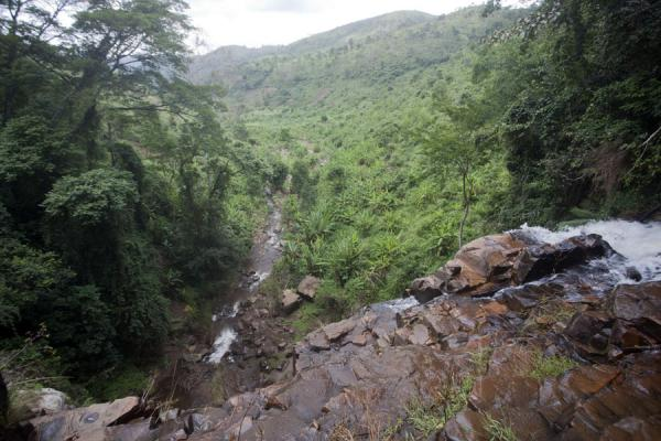 Looking into the valley at the foot of the last waterfall of the Chutes de la Karera | Chutes de la Karera | Burundi