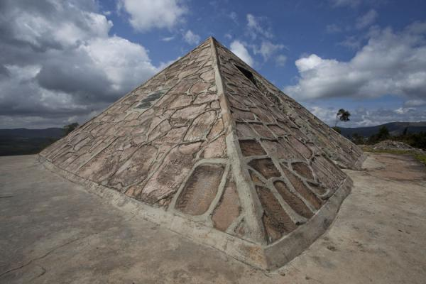 the pyramid marking the watershed between the Congo and Nile basins, erected by Dr. Burkhart who discovered the source | Source du Nil | Burundi