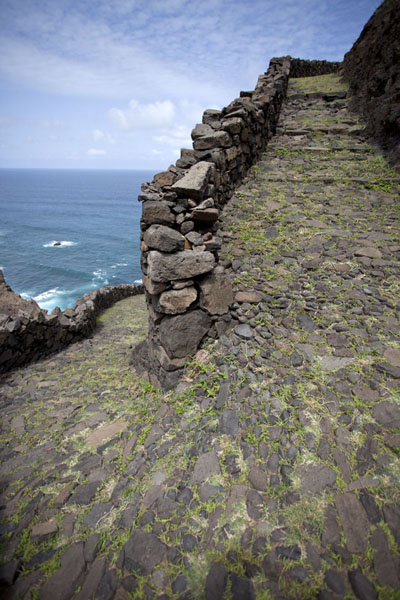 Switchback of the stony path along the wild northeastern coast of Santo Antão | Ponta do Sol to Chã de Igreja | Cabo Verde