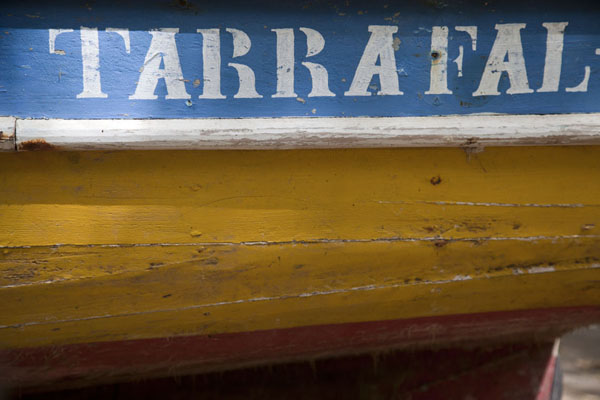 Detail of a painted fisher boat docked on the beach at Tarrafal | Tarrafal | Kaap-Verdië