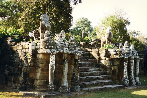 Picture of Angkor Wat (Cambodia): Statues flanking stairs leading to a temple at Angkor Wat