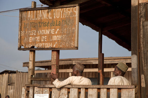 Two muslims at the Alliance Voyages office in Libongo | Bertoua to Libongo | Camerún