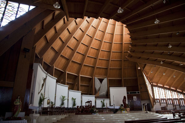 High wooden ceilings give a feeling of space inside the basilica of Yaoundé | Yaoundé basilica | Cameroon