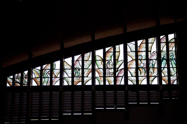 Stained glass window seen from the inside of the basilica of Yaoundé | Yaoundé basilica | Cameroon