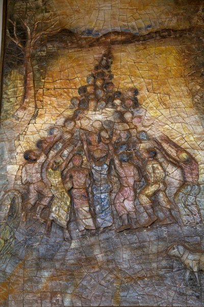 Picture of Yaoundé basilica (Cameroon): Religious scene from the bible depicted on an outside wall of the basilica of Yaoundé