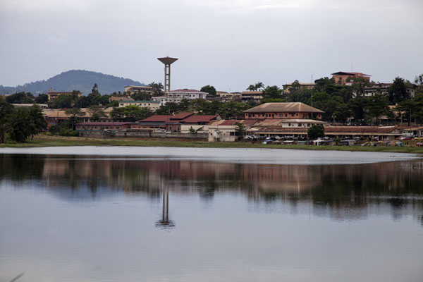 Reflection of city buildings in the Municipal lake | Municipal Lake | Cameroon