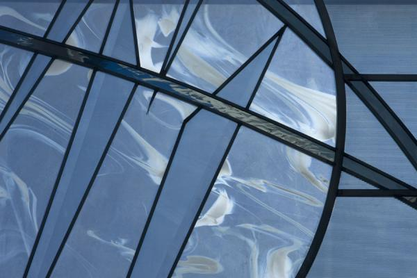 "Picture of Glass artwork ""Marks on ice"" in one of the windows of the Olympic Oval - Canada - Americas"
