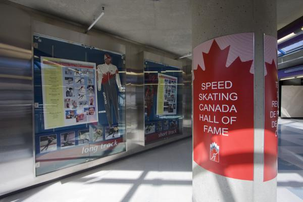 Corner of the Olympic Oval with some information on Canadian speedskaters | Calgary Olympic Oval | Canada