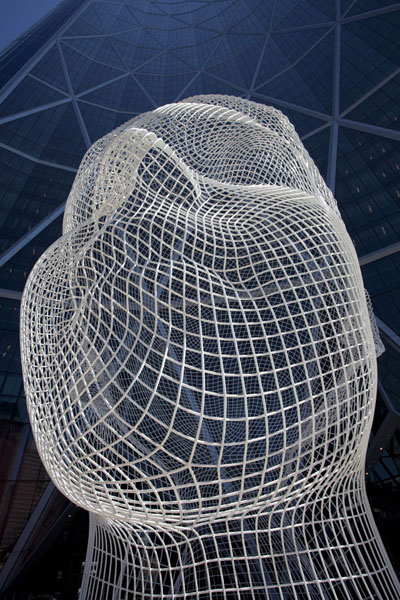 Picture of Looking up Wonderland by Jaume Plensa, at the base of the tallest tower of Calgary: the BowCalgary - Canada