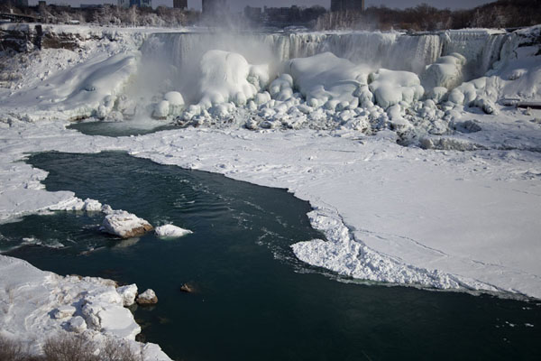 Largely frozen Niagara River and the American Falls | Frozen Niagara Falls | Canada