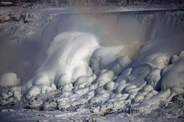 Picture of Frozen Niagara Falls (Canada): The American Falls with ice-covered boulders and rainbow