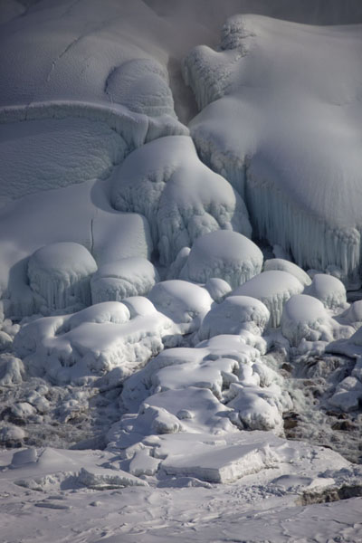 Ice and snow on the boulders at the foot of the American Falls | Frozen Niagara Falls | Canada