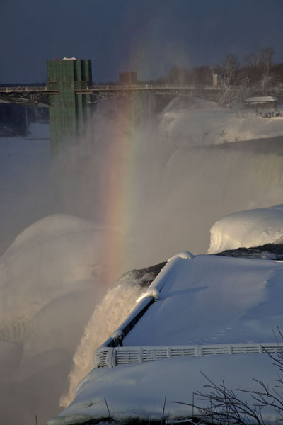 Rainbow over the American Falls in the late afternoon | Cascate del Niagara gelate | Canada