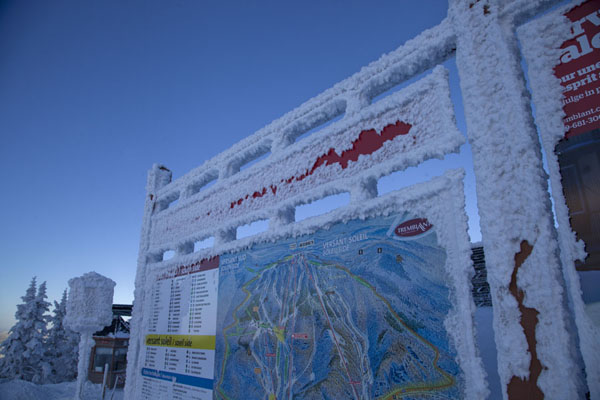 Picture of Ski maps covered in frost on a particularly cold winter day at Mont Tremblant - Canada - Americas