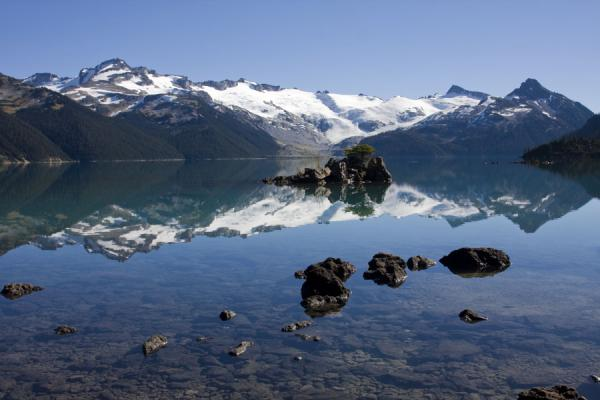 Picture of Panorama Ridge (Canada): Snow-capped mountains reflected in Garibaldi Lake